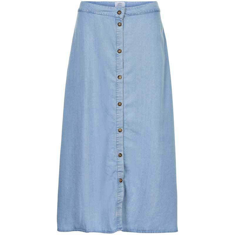 Nümph Nederdel, Nuahna, Light Blue Denim - Numph nederdel, Nümph tøj, lang nederdel