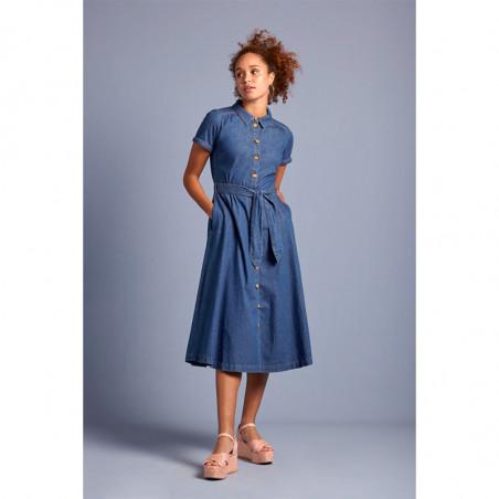 King Louie Kjole, Olive, River Blue, Lang kjole, lang kjole til fest, denim - Front