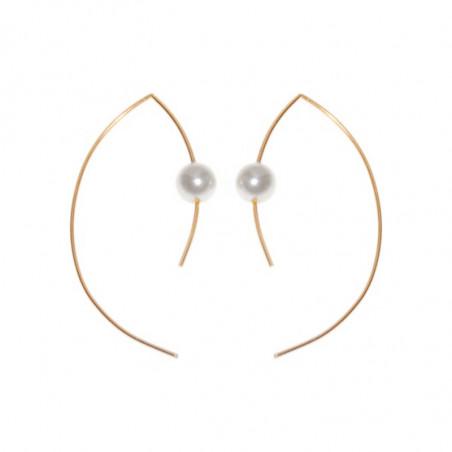 Pendulum Øreringe, Pearl Large, Hvid/Guld, Smykker, smykker til kvinder, smykker København, guld øreringe