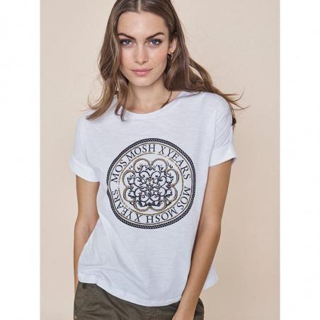 Mos Mosh T-shirt, Yara Anniversary, White With  Gold - Model