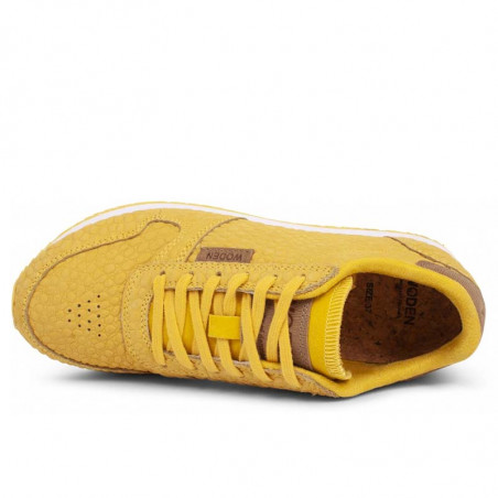 Woden Sneakers dame Ydun Croco, Super Lemon woden sko dame top