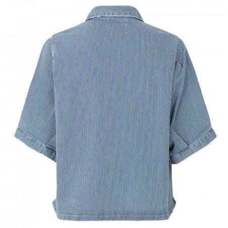 Mads Nørgaard Skjorte, Sassie Stripe, Blue/White set bagfra
