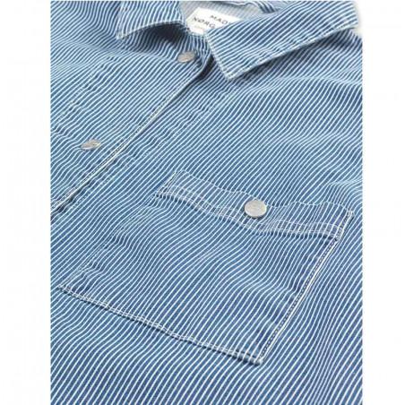 Mads Nørgaard Skjorte, Sassie Stripe, Blue/White, Detalje