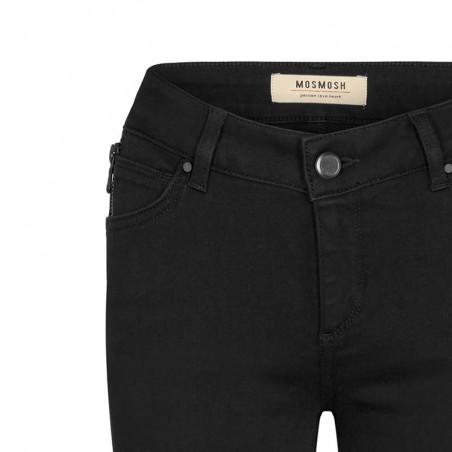 Mos Mosh Jeans, Victoria 7/8 Silk Touch, Black bukser mos mosh bukser detalje