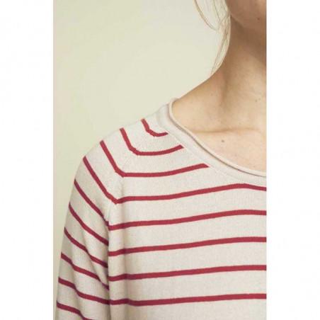 Basic Apparel Strik, Soya Stripe, Earth Red, basic apparel - Detalje