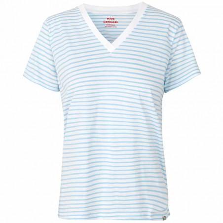 Mads Nørgaard T-Shirt dame, Trimmy V, White/Sky Blue Mads Nørgaard T Shirt