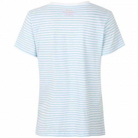 Mads Nørgaard T-Shirt dame, Trimmy V, White/Sky Blue Mads Nørgaard T Shirt bagside