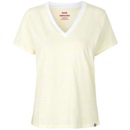 Mads Nørgaard T-Shirt dame, Trimmy V, White/Soft Yellow Mads Nørgaard T Shirt