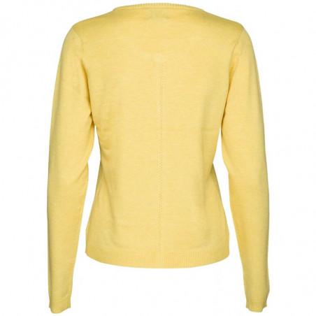 Minus Cardigan New Laura, Yellow Cream melange bagside, Minus tøj online