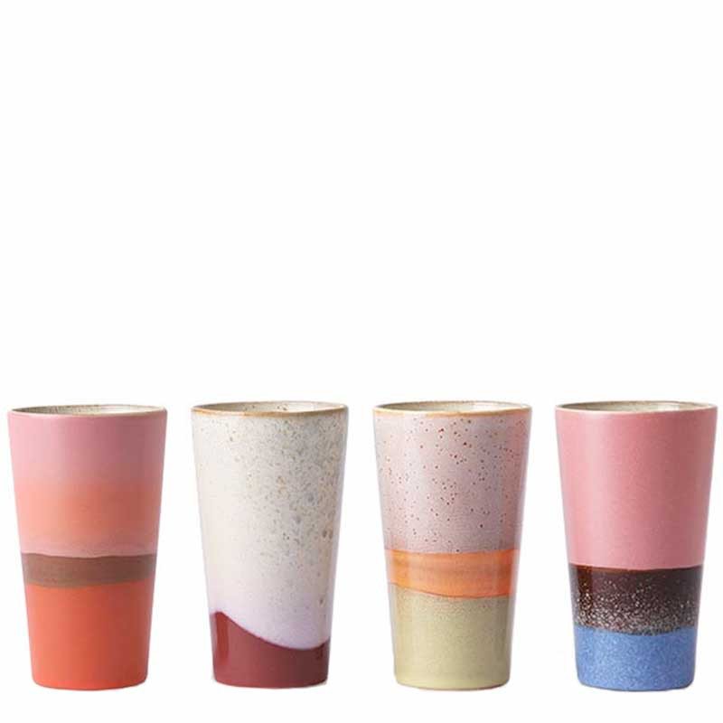 Hk living krus, ceramic 70's latte, sæt med 4 stk fra hk living fra superlove