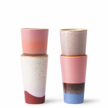 HK Living Krus, Ceramic 70's Latte, Sæt med 4 stk HK Living Danmark hk living dk stablet