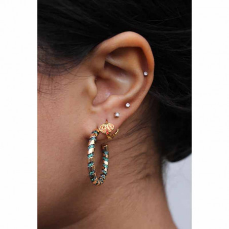 Pico Øreringe, Sea Crystal Hoops, Green Opac på model