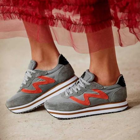 Woden Sneakers, Olivia Pleateau II, Autumn Grey, Woden sko, Woden - Model tæt på