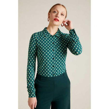 King Louie Skjorte, Pose, Dragonfly Green King Louie Bluse front