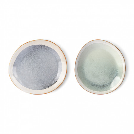 HK Living Tallerken, Ceramic 70's Sæt af 2, Mist HK Living Tallerkener varianter