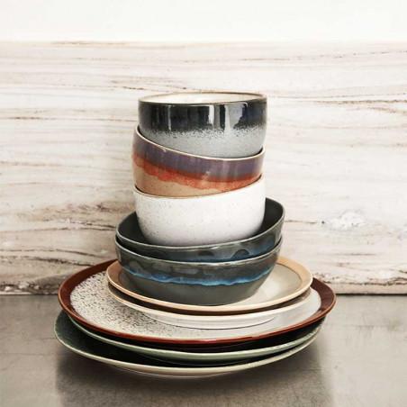 HK Living Skåle, Ceramic 70's Sæt af 2 Pasta Bowls, Moss HK Living DK stablet på bord