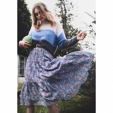 Lollys Laundry Nederdel, Morning, Flower Print Blue model fuld