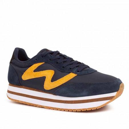 Woden Sneakers, Olivia II Plateau, Navy/Autumn Blaze side