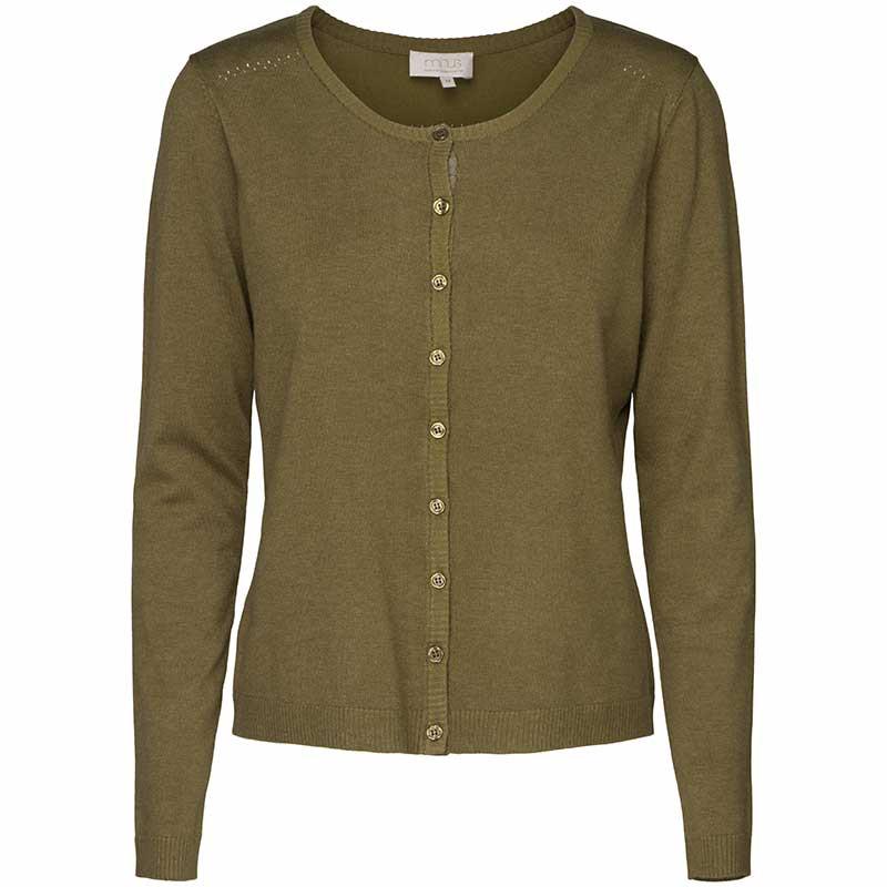 Minus Cardigan, New Laura, Olive Green Melange Basis cardigan Minus tøj