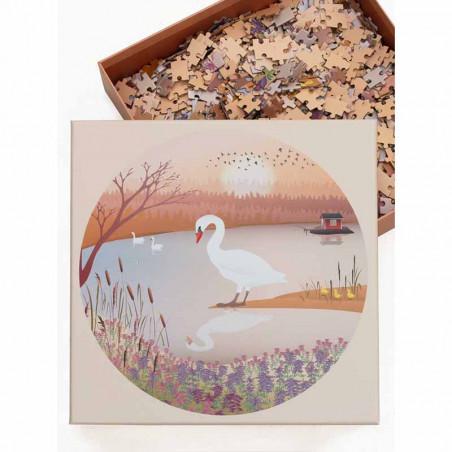 Vissevasse Puslespil 1000 brk, The Swan Rundt Puslespil fra Vissevasse med 1000 brikker