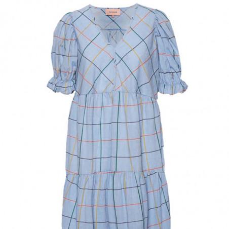 Hunkøn Kjole, Amalie, Blue Check Hunkøn tøj detalje