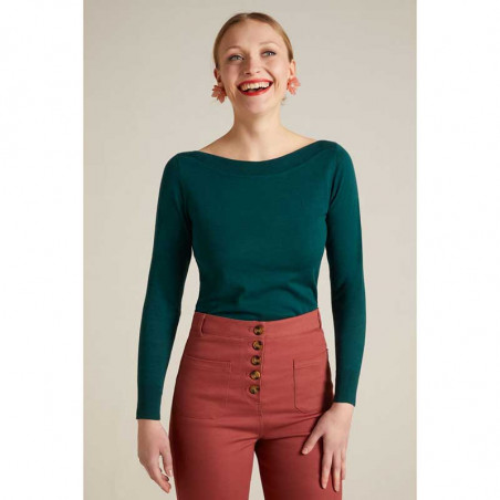 King Louie Bluse, Audrey Organic, Pine Green King Louie top Audrey Organic Cottonclub på model