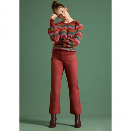 King Louie Sweater, Sailor Knit Top Sandou, Mellow Rose på model forfra hele kroppen
