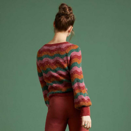King Louie Sweater, Sailor Knit Top Sandou, Mellow Rose på model bagfra