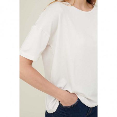 Basic Apparel T-shirt, Joline, White detalje