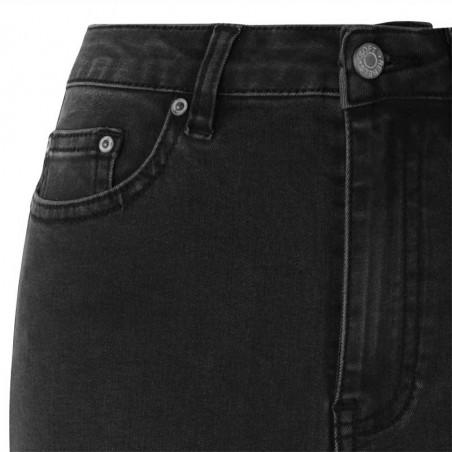 Soft Rebels Jeans, Highwaist Slim, Charcoal Black - Detalje