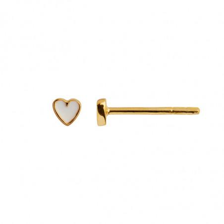 Stine A Ørering, Petit Love Heart Enamel, Gold/White Stine A Earstick