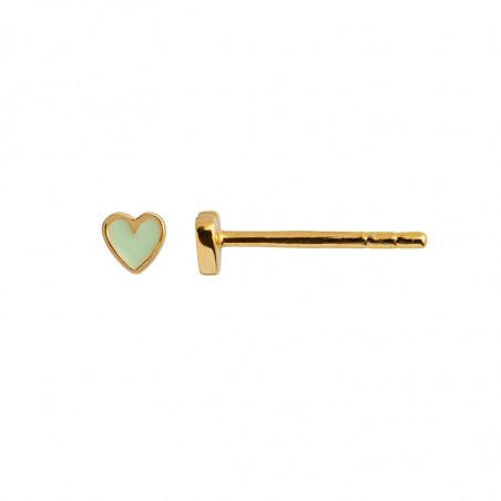 Stine A Ørering, Petit Love Heart Enamel, Gold/mint green  Stine A Earstick - ørestikker