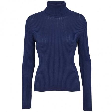 Basic Apparel Bluse, Alisia, Navy Basic Apparel Rollneck pullover Alisia basic apparel alisia-ls-t-neck-tops-indigo