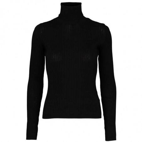 Basic Apparel Bluse, Alisia, black Basic Apparel Rullekrave pullover sort
