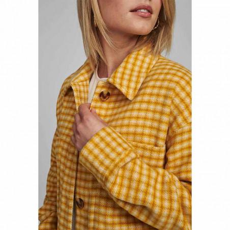 Nümph Jakke, Nubriella Coat, Buck Brown Numph skjorte på model detalje