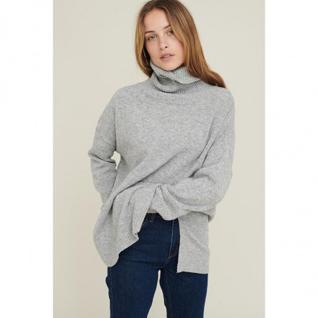 Basic Apparel Strik, Line T-neck, Light Grey Melange  Basic apparel sweater
