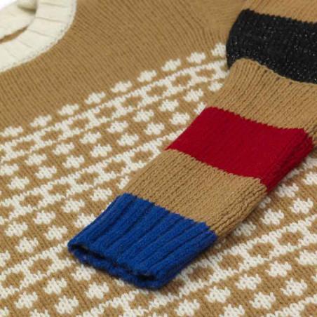 Mads Nørgaard Strik, Konny Recycled, Beige-Multi Mads Noergaard sweater recycled-iceland-konny-detalje