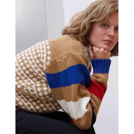 Mads Nørgaard Strik, Konny Recycled, Beige-Multi Mads Noergaard sweater recycled-iceland-konny-på model