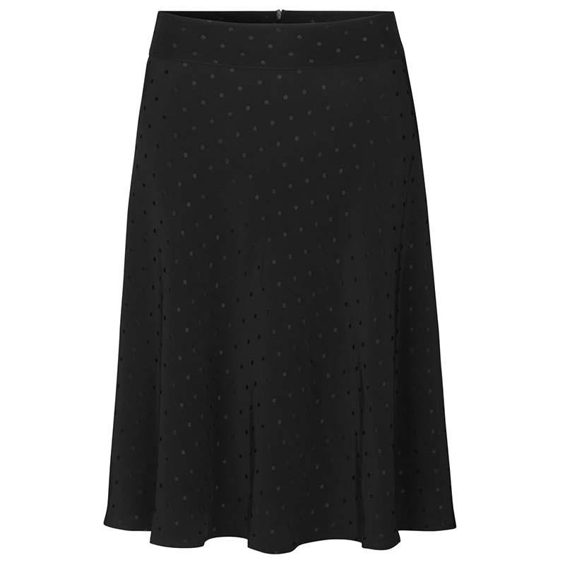 Mads Nørgaard Nederdel, Stelly C Drapy Skirt satin, Black