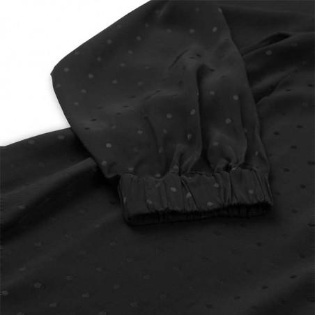Mads Nørgaard Kjole, Dancella Drapy Satin Dress, Black detaljer tæt på
