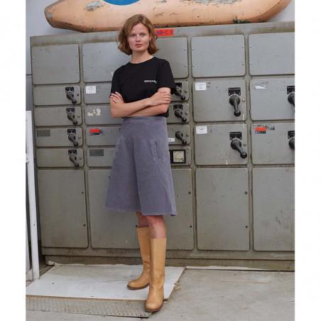 Mads Nørgaard Nederdel, Stelly Club Cord, Grey Skirt  dame  på model forfra hele kroppen