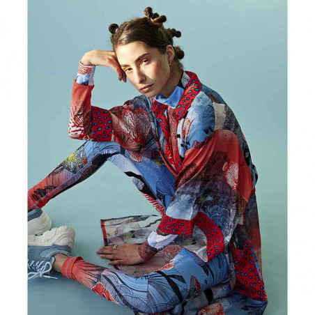 Hunkøn Skjorte, Wanda, Fish Art Print shirt dame tæt på siddende på model