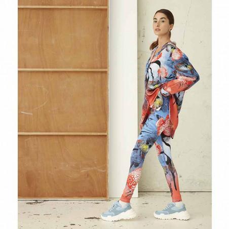Hunkøn Bukser, Wana Yoga Legging, Fish Art Print dame på model forfra fra siden