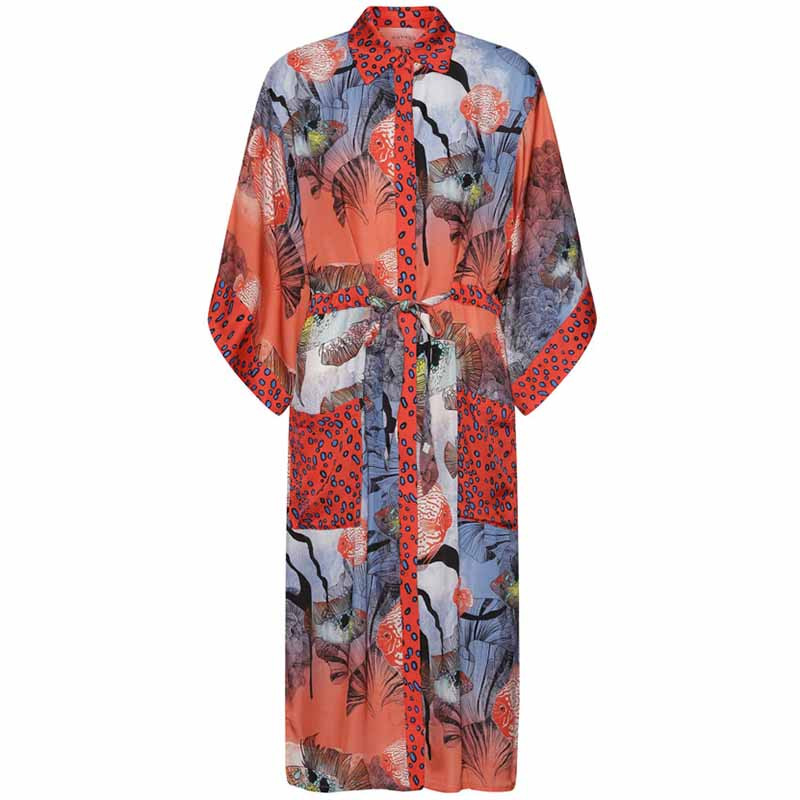 Hunkøn Kimono, Wanda, Fish Art Print dame