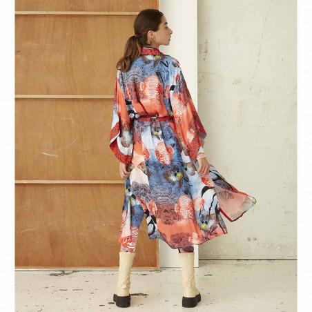 Hunkøn Kimono, Wanda, Fish Art Print dame bagpå bagfra