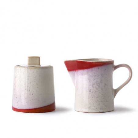 HK Living, Ceramic 70's Milk And Sugar, Frost