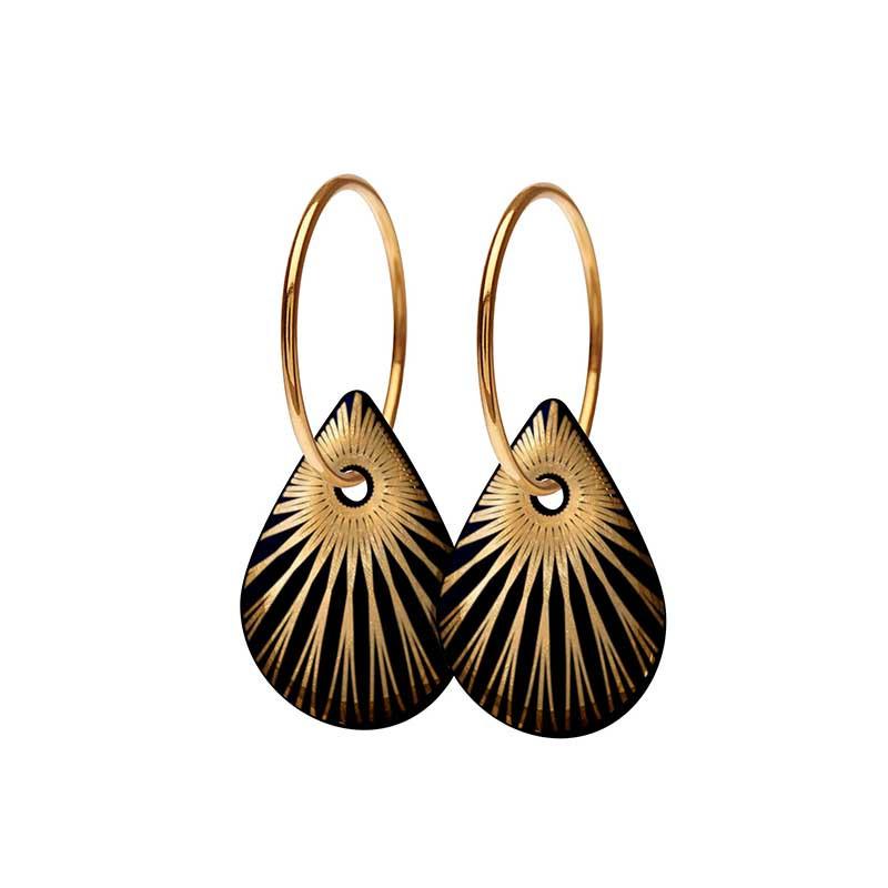 Scherning Øreringe, Splash Teardrop, Black/Gold Scherning smykker