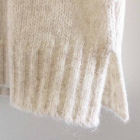 Basic Apparel Vest, Marnie, Caolino Rose Melange - Strikket vest detalje slids