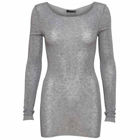 Minus Bluse, Claudia, Light Grey Melange  Minus Fashion Top - langærmet t-shirt med uld