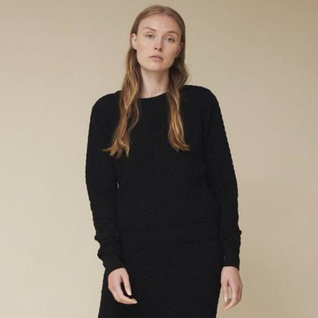 Basic Apparel Strik, Tilde Sweater, Black  Basic apparel bluse i sort strik